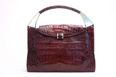 Vintage 70's Wine Crocodile Belly Handbag at Rice and Beans Vintage