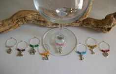 Dog Wine Glass Charms Markers Indicators Favor Gift, Dog Pet Wine Lover's Party Favors Gift, Dog Pet Related Event Favor Gift by SeashellBeachDesigns on Etsy