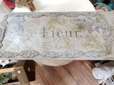 A gorgeous wall hanging. I used IOD Decor Stamps and Decor Moulds with Chalk Paint ®.