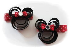 Children Accessories Hair Clip hair bow ribbon art girl hair dress made to match alligator clip handmade princess minnie mouse disneyland disney