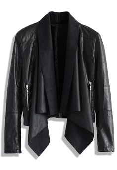 Milky Way Leather Jacket with Waterfall Drape