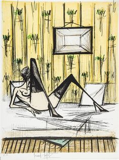 Artwork by Bernard Buffet, JEUX DE DAMES, Made of color lithograph