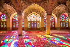 "A spectacular rainbow of stained glass makes Nasir al-Mulk Mosque one of the most beautiful in Iran. Also known as the ""Pink Mosque"" due to… Stained Glass Art, Stained Glass Windows, Mosaic Glass, Window Glass, Shiraz Iran, Pink Mosque, L'art Du Vitrail, Psy Art, Beautiful Mosques"