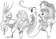 'mae west, tallulah bankhead, beatrice lillie, and hermione gingold' by al hirschfeld