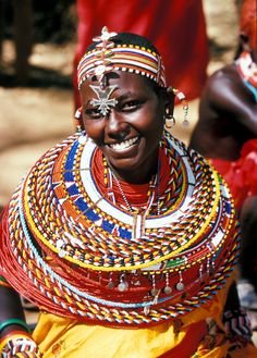 cultural visit : a women from a Samburu village in traditional clothes