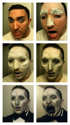 The Makeup process for my Black & White 1920's zombie for ZombieFest DC 2012. Tissues and liquid latex to cover eyebrows and cheekbones, then a crap load of grayscale shading. Hairspray to keep the makeup from smudging.