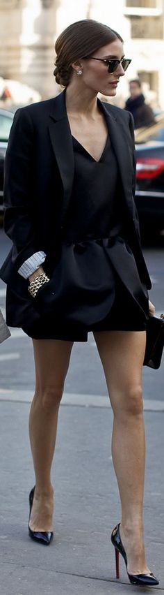 Peplum mini dress and blazer, Christian Louboutin Pigalle pumps