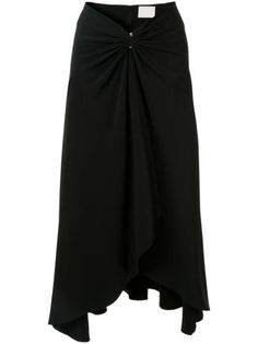 Black pierced drape midi skirt from Dion Lee featuring a draped design, a back zip fastening, an asymmetric hem and a pierced detail to the front. Dion Lee, Black Midi Skirt, Women Wear, Skirts, Fashion Design, Clothes, Shopping, Dresses, Detail