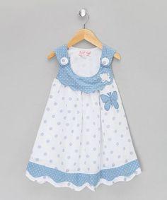 Honey Blue Butterfly Jumper - Infant, Toddler & Girls by Powell Craft Toddler Girl Style, Toddler Dress, Toddler Outfits, Baby Dress, Infant Toddler, Toddler Girls, Little Girl Dresses, Girls Dresses, Girl Dress Patterns