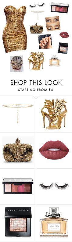 """""""gold✨✨"""" by jocelynpm ❤ liked on Polyvore featuring Nicolas Jebran, New Look, Giuseppe Zanotti, Alexander McQueen, Lime Crime, NARS Cosmetics, Bobbi Brown Cosmetics and Christian Dior"""