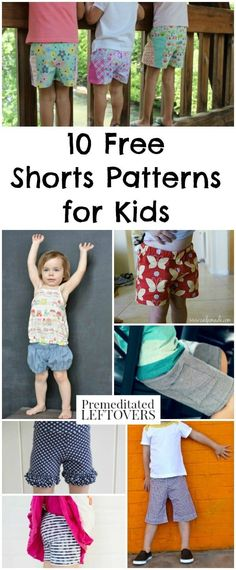 Sewing For Kids Clothes 10 Free Shorts Patterns for Kids - Frugal summer clothing idea for kids. Sewing patterns for kids shorts including tutorial for how to turn pants into shorts. Frugal ways to dress kids in cute summer clothing on a budget. Sewing Patterns For Kids, Sewing Projects For Beginners, Sewing For Kids, Pants Tutorial, Tutorial Sewing, Leftover Fabric, Kids Shorts, Love Sewing, Sewing Clothes