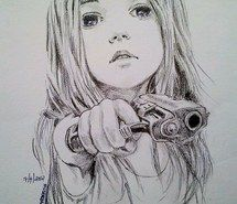 Inspiring image black, drawing, white, girl, painting, guns #1212826 by awesomeguy. Resolution: 636x960px. Find the image to your taste!
