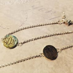 Monogram engravings look lovely on a variety of custom bracelets, personalized necklaces and more!