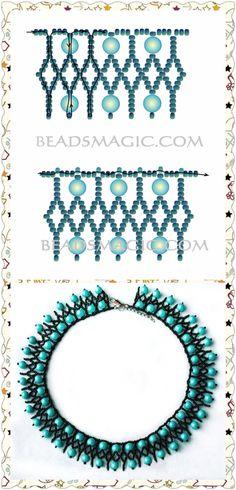 Collar Beaded Necklace Patterns, Beaded Jewelry Designs, Seed Bead Jewelry, Bead Jewellery, Handmade Jewelry, Beaded Bracelets, Necklaces, Necklace Tutorial, Beading Tutorials