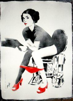 "Saatchi Online Artist: Sly Juan; Aerosol Paint, 2013, Painting ""R2D2P SPECIAL ED ON WATERCOLOUR PAPER"""