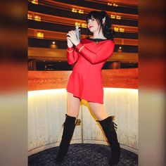 """Bernadette Bentley on Instagram: """"Happy 50th anniversary Star Trek! Set phasers to stun! This print is available in my print store and for 15% off using 15KTHANKYOU on BernadetteBentley.com ❤️😍😘🤓 #StarTrek #printsale #cosplay #cosplayer #cosplayersofinstagram #cosplaygirl #cosplaymodel #geek #geekgirl #instageek #BernadetteBentley #setphaserstostun #redshirt #startrekTOS #Vulcan #legsfordays #boots Photo by Kevin Green Star Trek TOS dress by @castlecorsetry"""""""