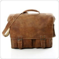 Aunts & Uncles Leather Bag Big Finn - Aktentasche XL in Tan