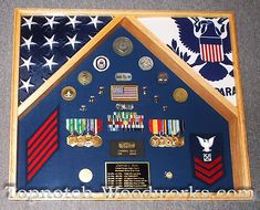 2 Flag Military Shadow Box by Topnotch Woodworks Flag Display Case, Shadow Box Display Case, Diy Shadow Box, Military Retirement, Retirement Ideas, Retirement Gifts, Shadowbox Ideas, Military Shadow Box, Military Memorabilia