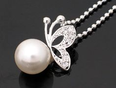 Silver SP CZ Butterfly on Pearl Chain Necklace