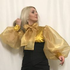 Excited to share this item from my shop: Tie- Neck Balloon- Sleeved Satin & Organza Blouse Evening Top in Sizes S M L XL XXL Collar Styles, Blouse Styles, Blouse Designs, 80s Fashion, African Fashion, Fashion Dresses, Bow Blouse, Blouse And Skirt, Evening Tops