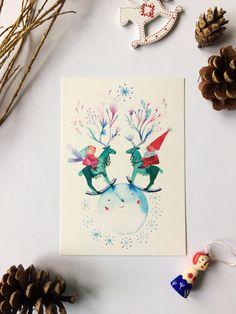 Christmas greeting card with reindeer angel and Santa size original art print Christmas Greeting Cards, Christmas Greetings, A6 Size, Reindeer, Original Art, Santa, Angel, Animation, Etsy Shop