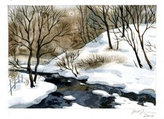 Little winter painting I did this afternoon...  - Джил Томпсон