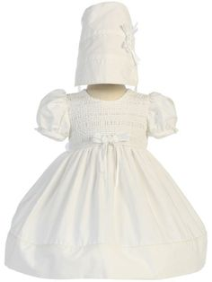 Adorable Baby Clothing - White Cotton Smocked Baby Girls Christening Dress, $55.00 (http://www.adorablebabyclothing.com/white-cotton-smocked-baby-girls-christening-dress/)