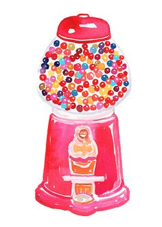 adorable gumball machine illustration by samantha hahn
