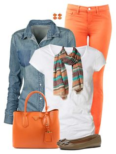 """""""Orange Jeans and Denim Shirt"""" by daiscat ❤ liked on Polyvore featuring J Brand, Fat Face, AllSaints, Promod, Prada, Tory Burch and Sandra Dini"""