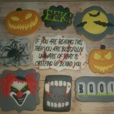 Sarah Anne Lindelow:  Halloween cookies.   Scary clown.