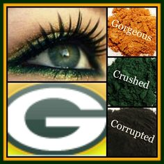 Greenbay Packers look created using mineral pigments Gorgeous, Crushed, and Corr. - my most beautiful makeup list 3d Fiber Lashes, 3d Fiber Lash Mascara, Makeup List, Eye Makeup, Beauty Makeup, Younique, Magical Makeup, Pigment Powder, Aaron Rodgers