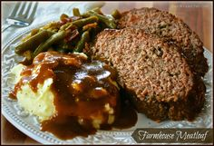 ~ Moist & Juicy Farmhouse Meatloaf ~ (Plus recipes for homemade mashed potatoes, country green beans, and easy beef gravy!) ~ Moist & Juicy Farmhouse Meatloaf ~ (Plus recipes for homemade mashed potatoes, country green beans, and easy beef gravy! Top Recipes, Meat Recipes, Cooking Recipes, Recipies, Recipes For Meatloaf, Meat Meals, Crockpot Meals, Asian Recipes, Dinner Recipes