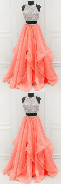 Prom Dress Ball Gown, two piece a line beaded tulle 2019 Unique Prom Dresses SuZhou Prom - Bal de Promo Homecoming Dresses Long, Pretty Prom Dresses, Prom Dresses Two Piece, Unique Prom Dresses, Hoco Dresses, Ball Gowns Prom, Ball Dresses, Cute Dresses, Beautiful Dresses