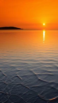 Orange horizon sunset iPhone Wallpapers