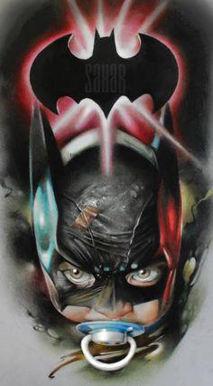 Baby Batman, art by Sergey Shanko Super Hero Tattoos, Mago Tattoo, Desenho New School, Realistic Cartoons, Batman Drawing, Nostalgia Art, Baby Batman, Mickey Mouse Art, Tattoo For Son