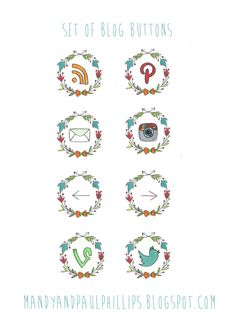 Illustrated social media buttons, Social Media icons, website icons, blog buttons, hand drawn icons, set of 10. $50.00, via Etsy.