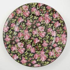 "Set 6 Chintz 7"" Dessert Plates Vintage Czechoslovakia F&W Black Pink Roses #FWCechoSlov"