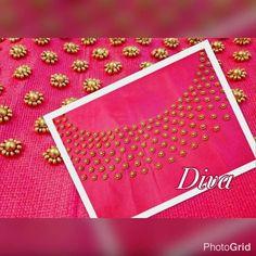 Embroidery On Kurtis, Kurti Embroidery Design, Embroidery Neck Designs, Hand Embroidery Flowers, Simple Embroidery, Chudidhar Neck Designs, Churidhar Designs, Blouse Neck Designs, Hand Work Blouse Design