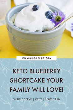 This yummy dessert recipe is perfect for just you or for the whole family! Single serve and no baking required, this delicious blueberry shortcake is made with almond flour and coconut flour. Keto-friendly, low sugar, low carb dessert recipe. ChocZero creates healthier treats with quality ingredients. Enjoy keto-friendly, sugar-free chocolate and syrup that tastes incredible. Enjoy our low-carb, keto, gluten-free, and sugar-free recipes that use our delicious keto chocolate and syrups. Sugar Free Desserts, Sugar Free Recipes, Keto Desserts, Healthy Dessert Recipes, Keto Recipes, Chocolate Chip Mug Cake, Desserts With Chocolate Chips, Sugar Free Chocolate, Coconut Flour