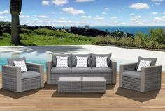 Atlantic Cameron 5 Piece Deep Seating Group with Cushions