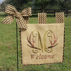 Custom Monogram Burlap Garden Flag - Antlers- Matching Chevron Tabs and Bow