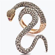Aida Bergsen - rose gold, diamonds, ruby serpentine ring.