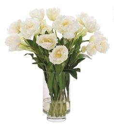 Natural Decorations, Inc. - Tulip Blown | Glass Cylinder | Cream White