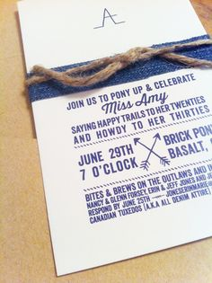 time to bestow :: fifty shades of denim. A canadian tuxedo birthday party. darling and denim. the invitation.