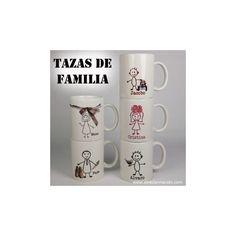 """Set de tazas de familia personalizadas. Una taza para cada miembro de la familia, un regalo personalizado con el que seguro que acertarás, especial para navidades, cumpleaños y demás ocasiones. Por detrás llevan todas un texto de """"buenos días"""" con el nombre de cada uno. El precio INCLUYE 5 TAZAS personalizadas.  Precio: 46 €"""