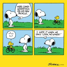 Snoopy and Woodstock with his new bike Snoopy Comics, Snoopy Cartoon, Peanuts Cartoon, Cartoon Pics, Cartoon Characters, Peanuts Comics, Happy Comics, Peanuts Characters, Peanuts Snoopy