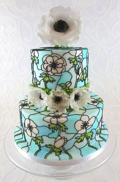 Anemone Stained Glass Wedding Cake Love the idea and look of the stain glass
