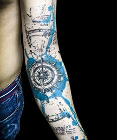 Watercolor compass full sleeve tattoo - 100 Awesome Compass Tattoo Designs  <3 <3