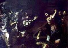 Valentin de Boulogne, Cacciata dei mercanti dal tempio (Expulsion of the Money-Changers from the Temple), oil on canvas x cm, St. Petersburg, The Hermitage. Cleansing Of The Temple, Ages Of Man, Money Change, Jesus Stories, Jesus Painting, Life Of Christ, Hermitage Museum, John The Baptist, Caravaggio