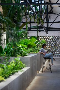 Gallery of Jungle Station / Architecture & Urban Planning – 4 – Cool Office Space Rustic Interiors, Office Interiors, Cafe Plants, Vietnam, Cool Office Space, Interior Garden, Conceptual Design, Jungles, Ho Chi Minh City